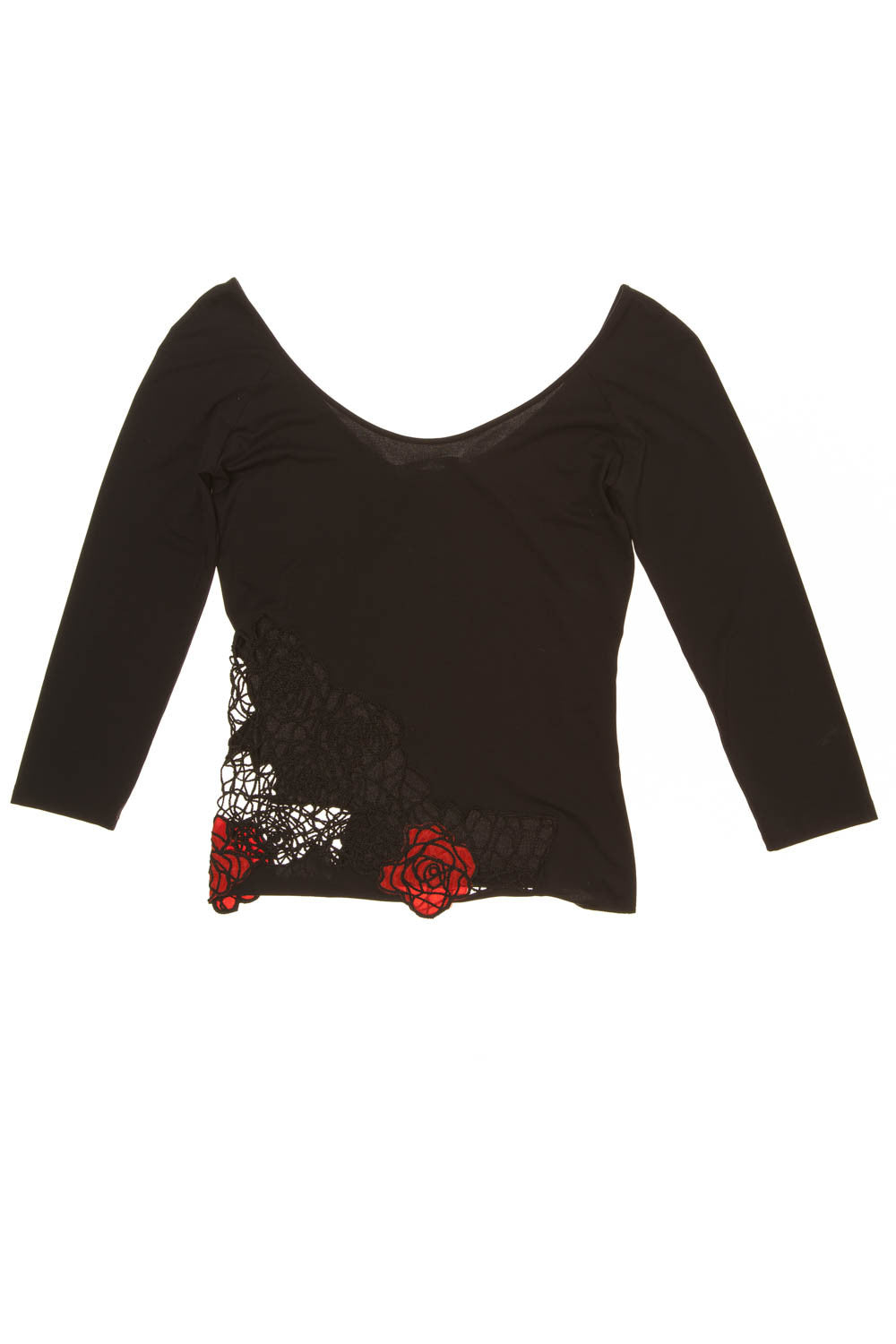 Blumarine - Black Top with Red Roses - IT 42