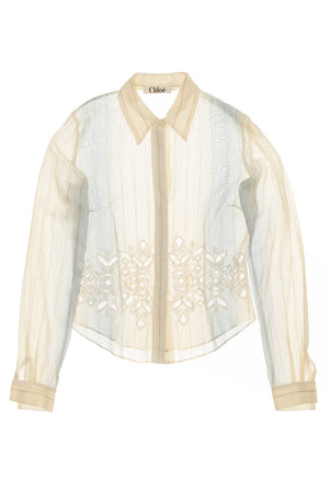Chloe - Light Blue and Tan Long Sleeve Button Down with Cut Outs - FR 38