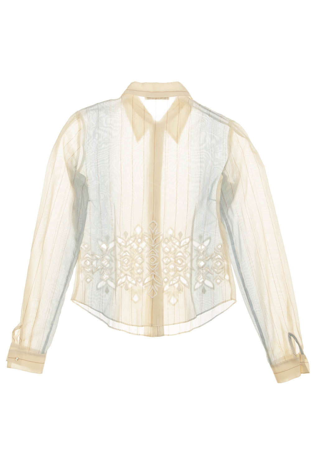 316c9aa9e8143d Chloe - Light Blue and Tan Long Sleeve Button Down with Cut Outs - FR 38