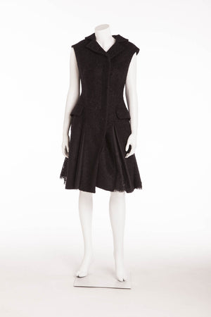 Original Alexander McQueen - New With Tags Black Sleeveless Dress with Lace Pleats - IT 40