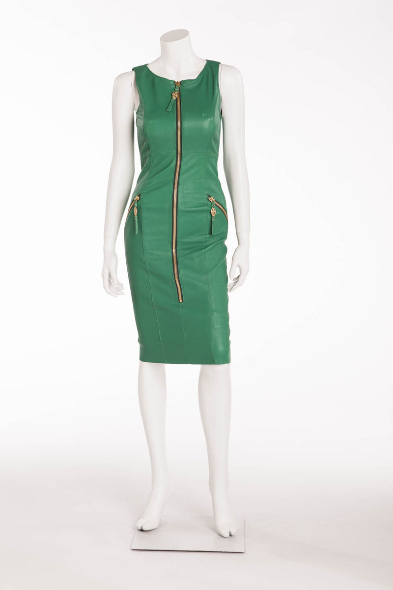 Thomas Wylde - Green Leather Zip Up Dress with Gold Embellishments - M