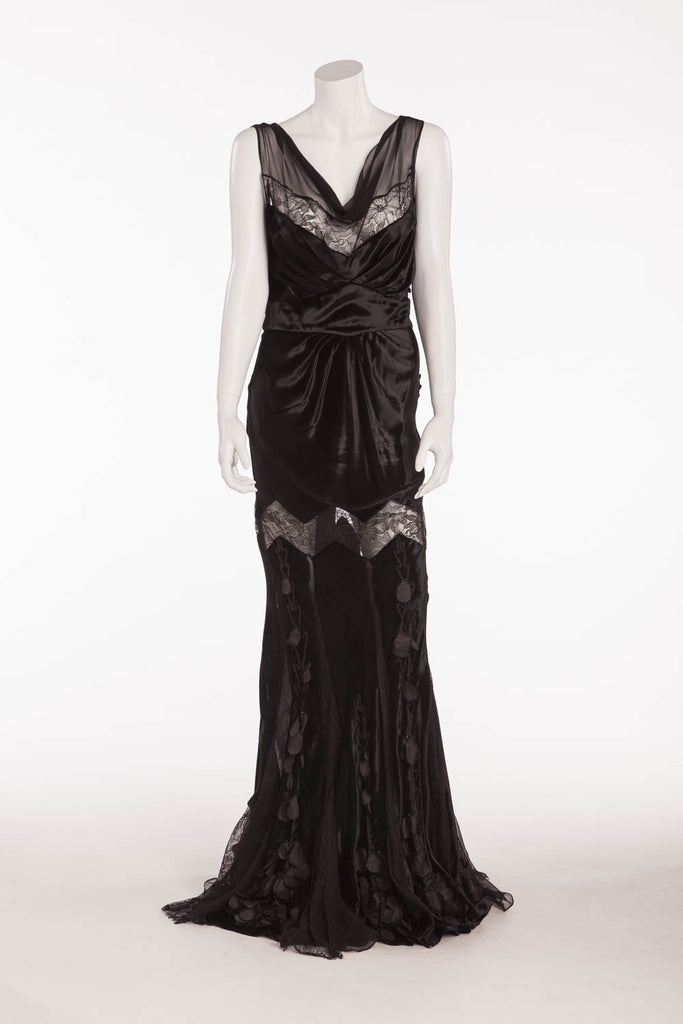 John Galliano - Black Velvet Long Gown with Lace & Embellishments ...