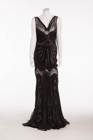 John Galliano - Black Velvet Long Gown with Lace & Embellishments - FR 40