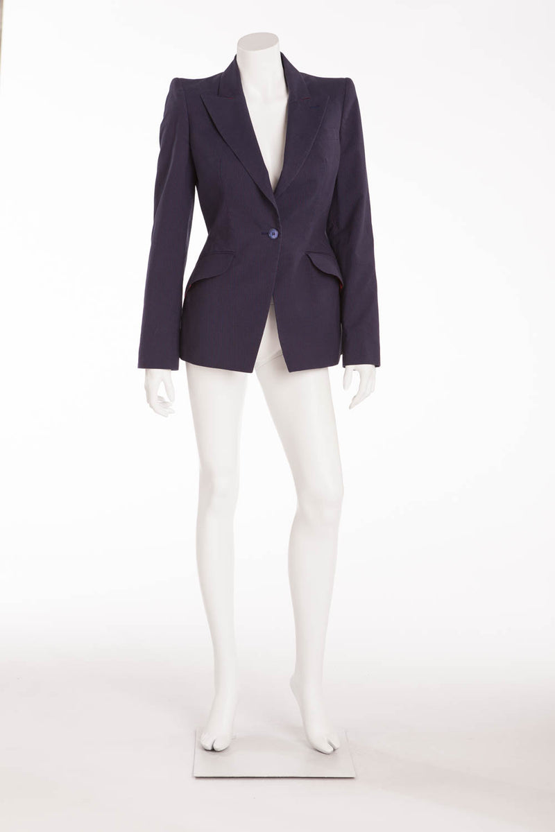 Original Alexander McQueen - Blue and Red Striped Blazer - IT 42