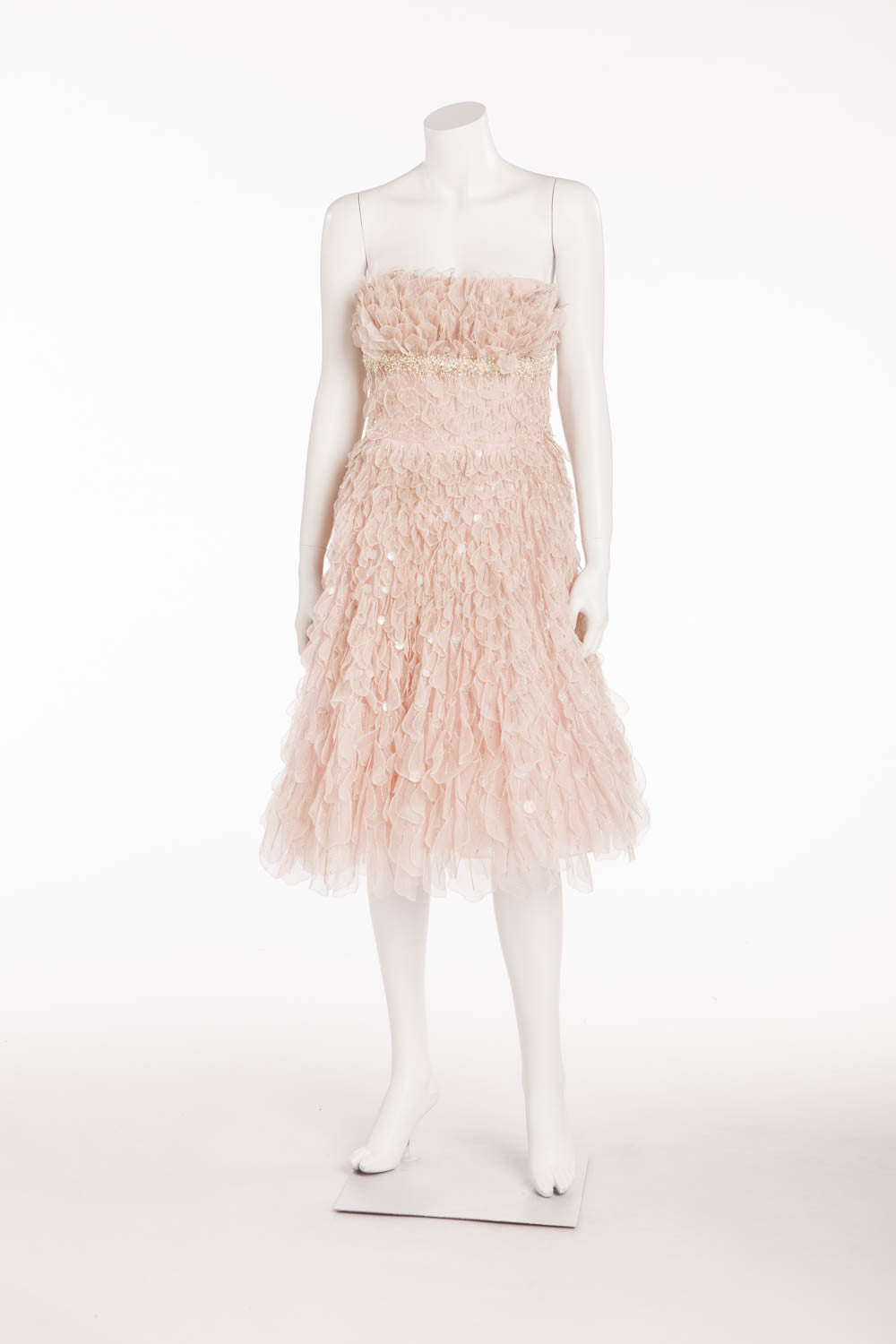 Oscar De La Renta - Pink Beaded Ruffle Mini Dress  - US 6