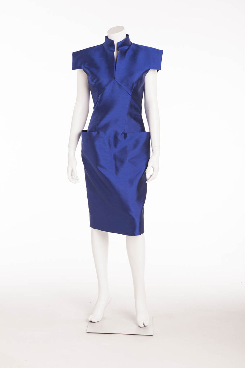 Original Alexander McQueen - NWT Cobalt Royal Blue Short Sleeve Dress with Pockets - IT 42