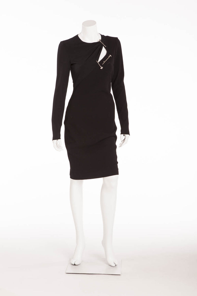 Versace - Long Sleeve Black Mini Dress with 3 Screw Pins - IT 42