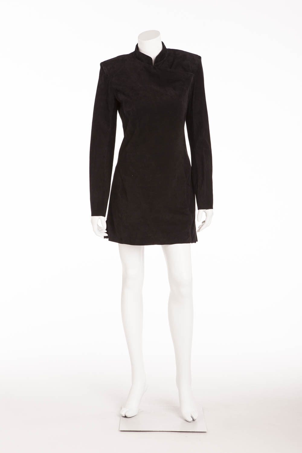 Balmain - NWT Long Sleeve Suede Black Mini Dress - FR 40