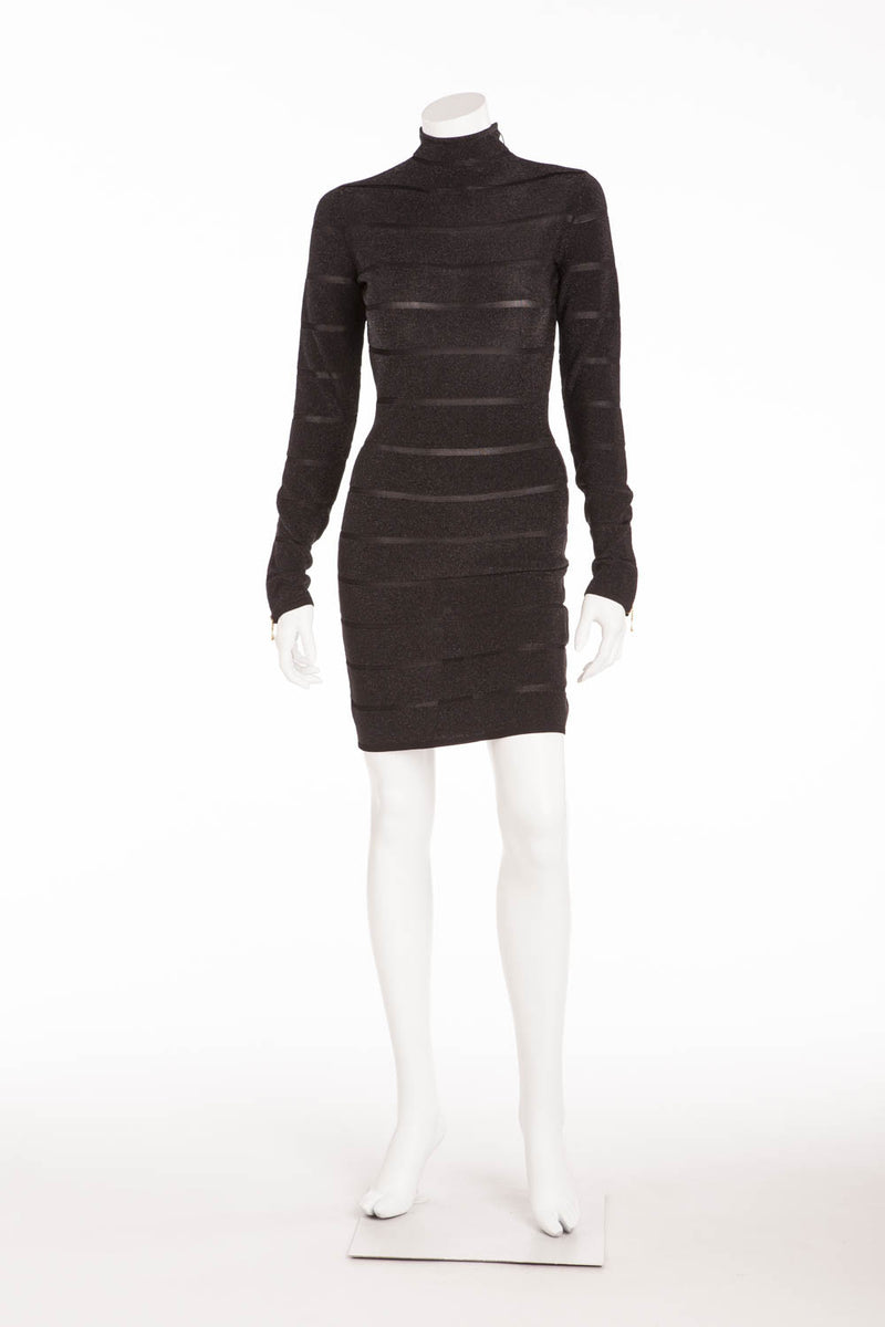 Balmain - NWT Black Long Sleeve Mini Dress Gold Zippers - FR 40