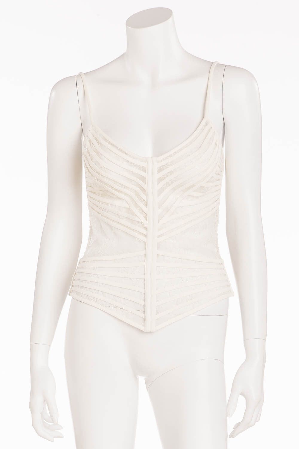 La Perla - Off White Spaghetti Strap Cage Bustier - IT 44