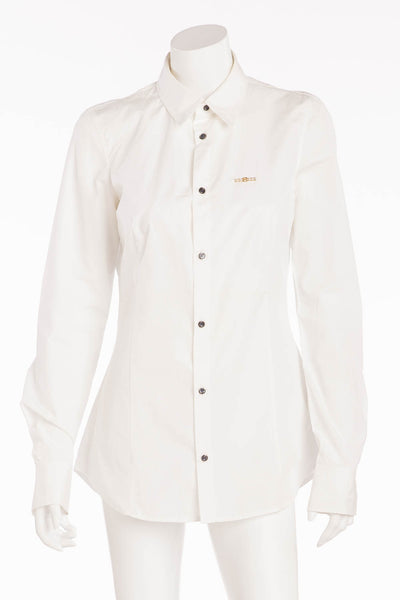 d890277c761bd2 Dsquared2 - BN White Collared Long Sleeve Gold/Pearl Pin - IT 44 – LUXHAVE