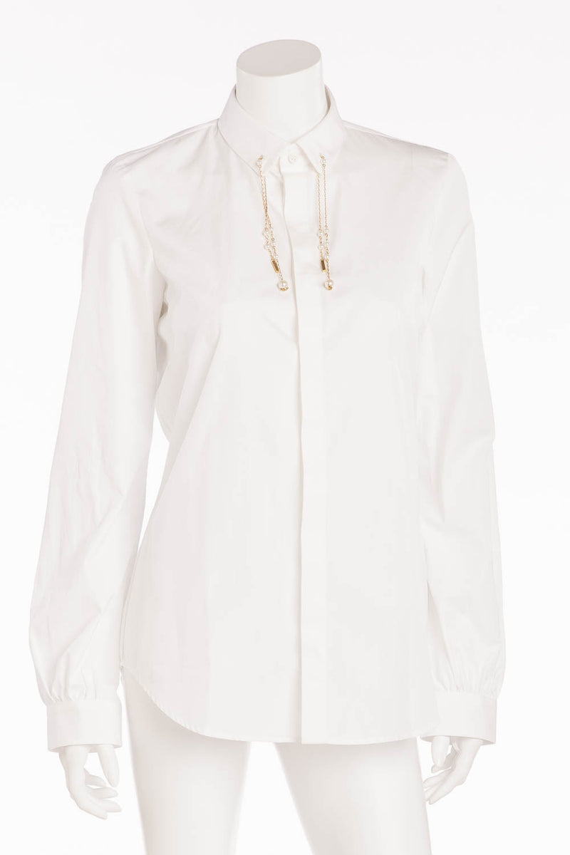 Dsquared2 - BN White Collared Long Sleeve with Gold + Pearl Dangles - IT 44