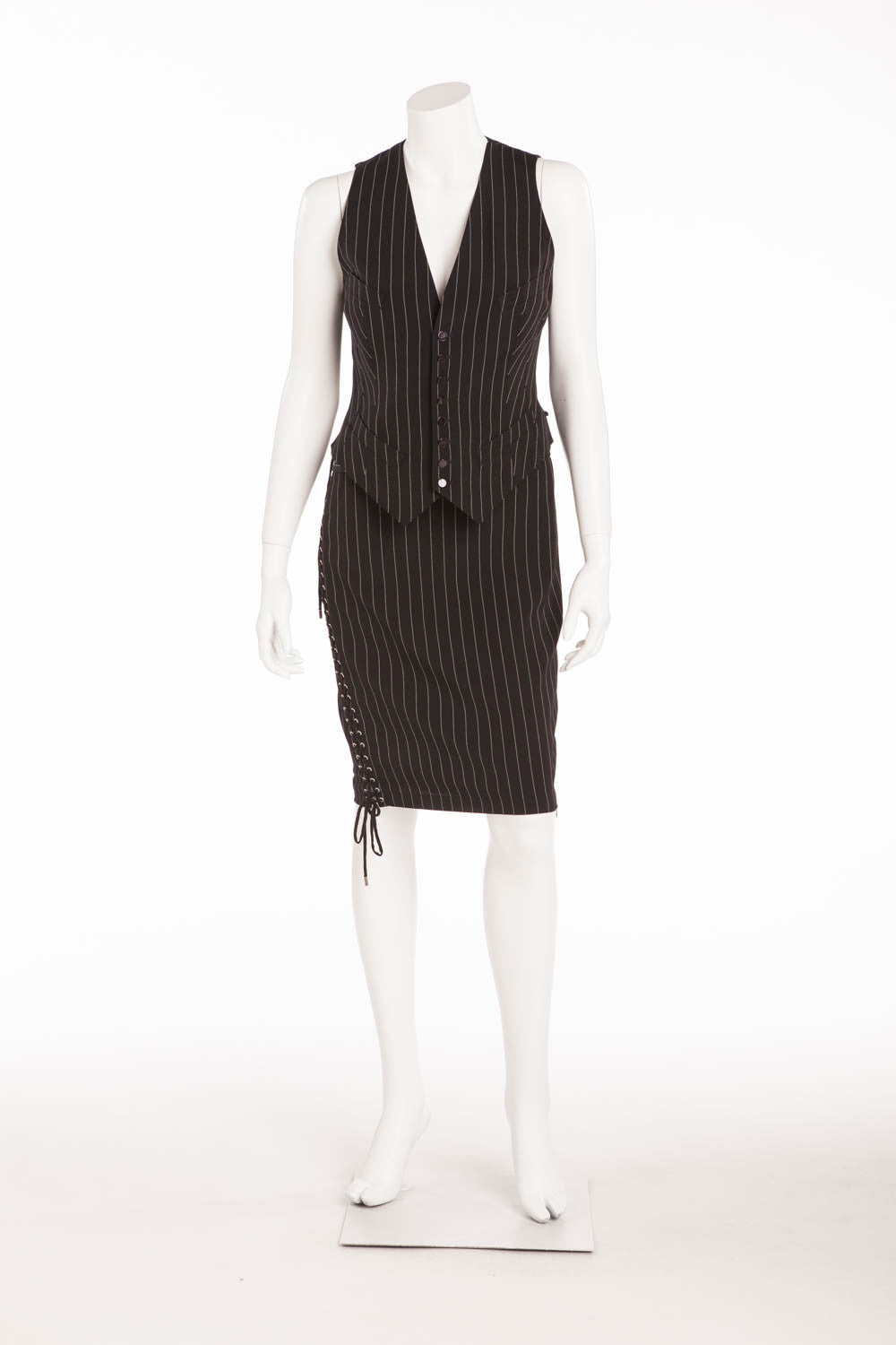 Jean Paul Gaultier - 2PC Pin Stripe Vest & Skirt Lace Up IT 40