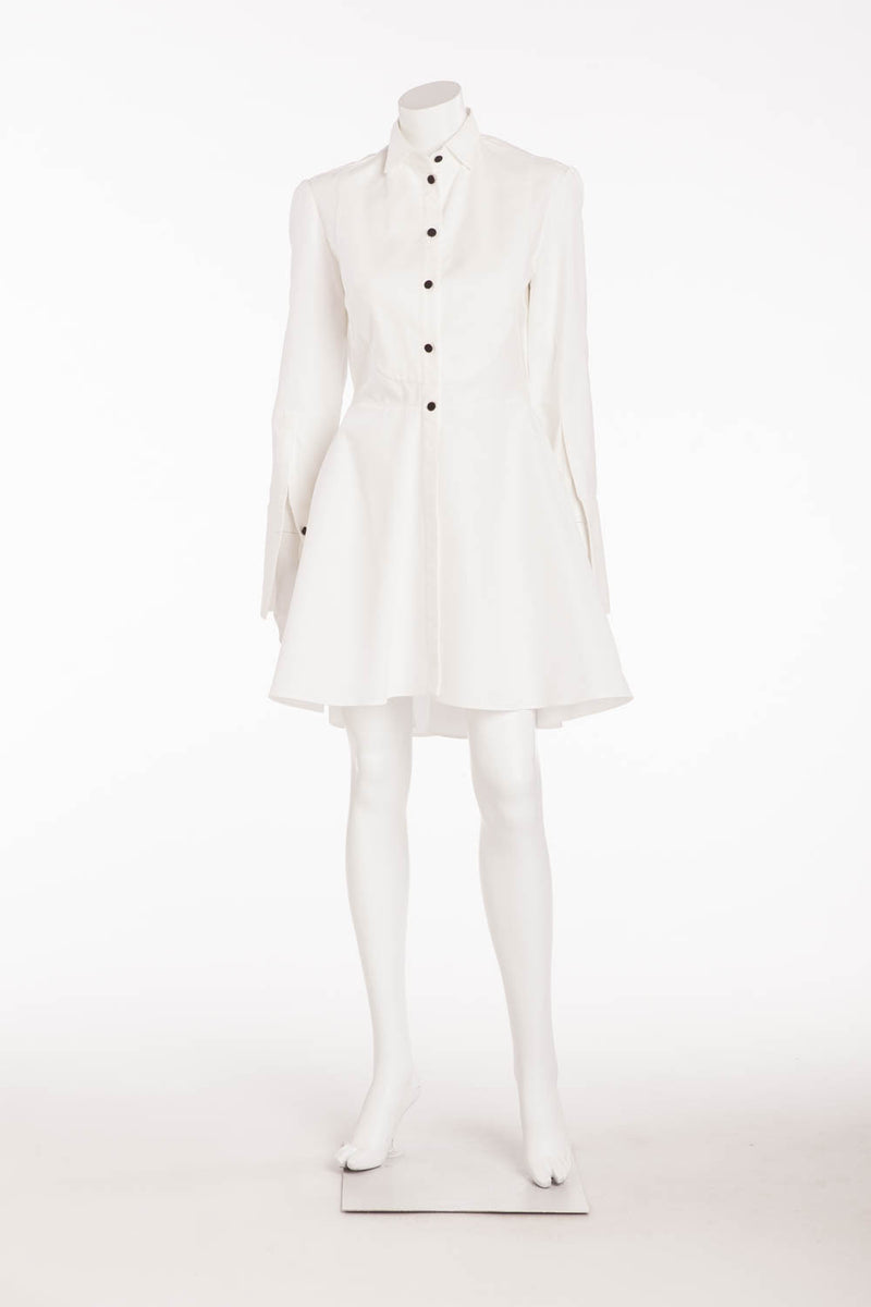 Alexander McQueen - Brand New White Long Sleeve Button Up Dress - IT 42