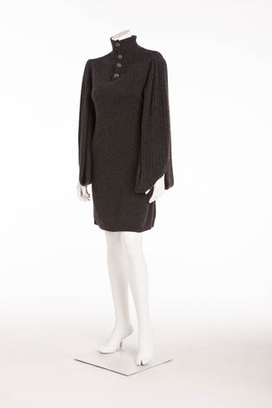Chanel - Dark Grey Sweater Dress with Open Sleeves - FR 40