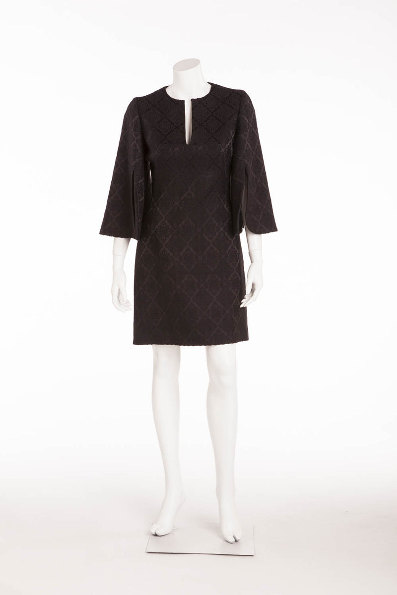 Original Alexander McQueen - Long Sleeve Patterned Black Dress - IT 42