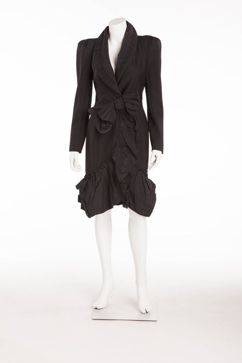 Louis Vuitton - Black Coat with Ruffle On Bottom - FR 38