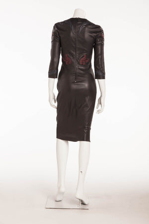 Jitrois - Black 3/4 Sleeve Leather Dress Embellished with Blue and Red - FR 38
