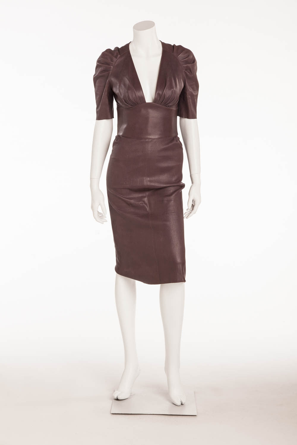 "JItrois - ""Monceau"" -Burgundy Fitted Short Sleeve Leather Stretch Lambskin Dress - FR 38"
