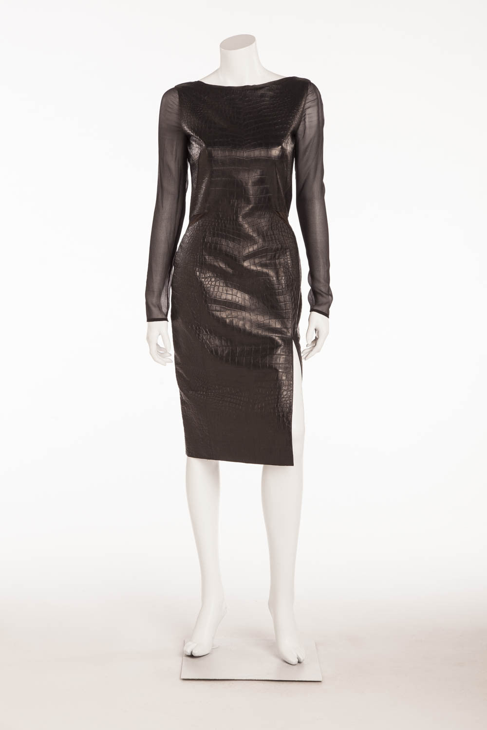 Emilio Pucci - Brand New with Tags Black Alligator Embossed Mini Dress Sheer Sleeves - IT 42