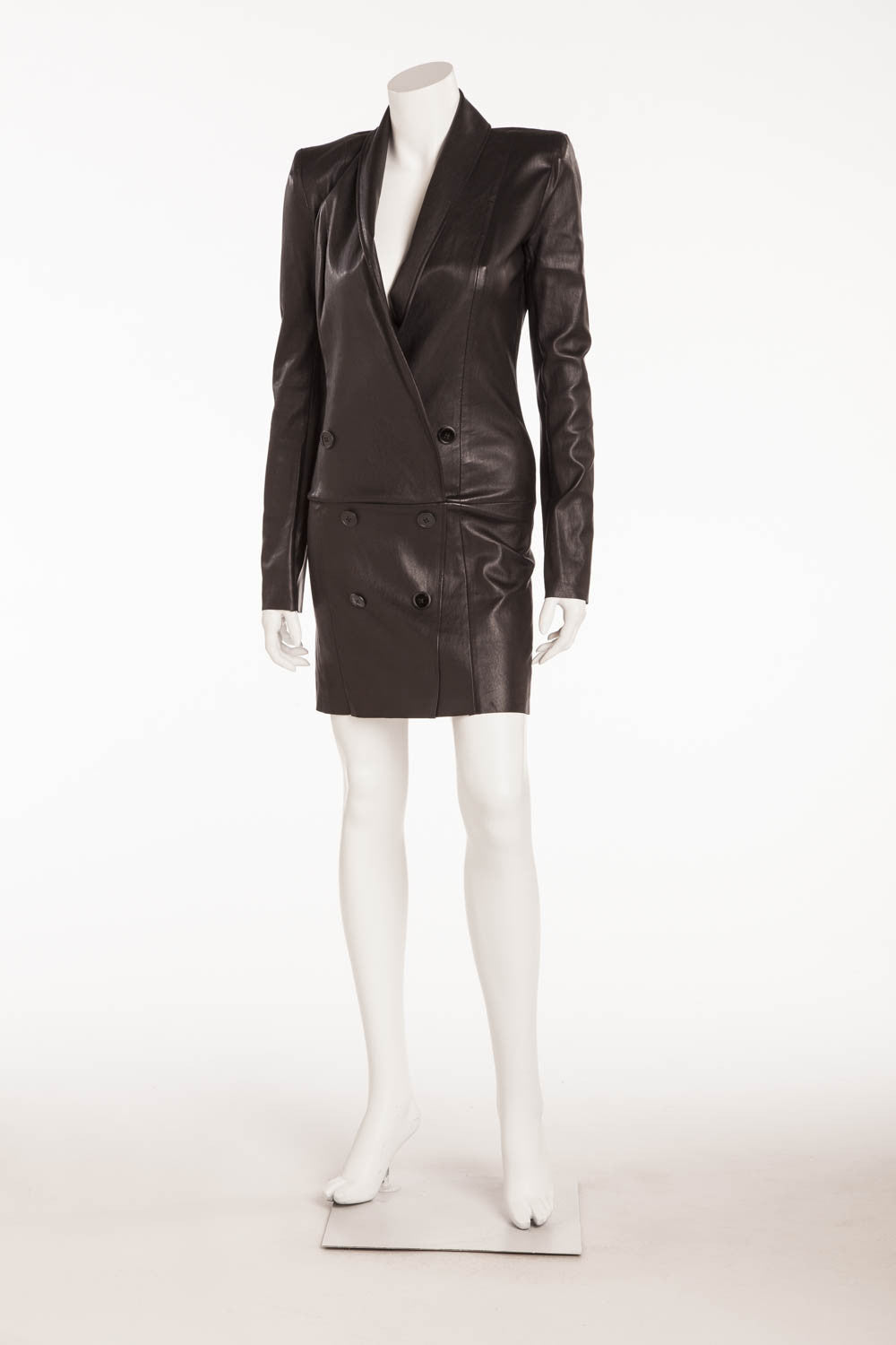 "Jitrois - Brand New "" Tess"" Black Long Sleeve Tuxedo Style Deep V Leather Mini Dress - FR 38"