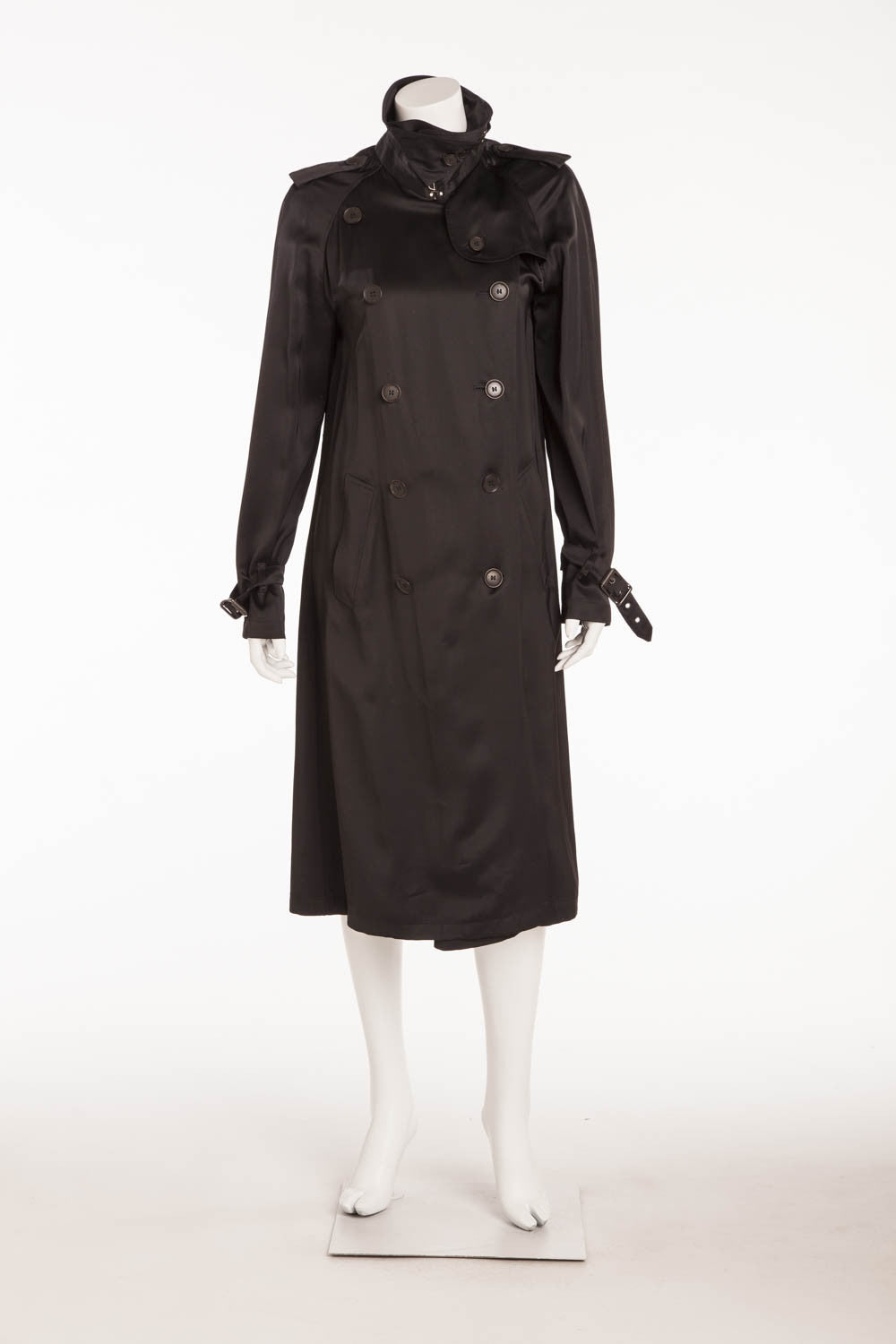 Burberry - Silk Black Button Up Trench Coat with Belt - FR 42