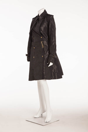Lanvin - Shiny Black Button Up Trench Coat - FR 40