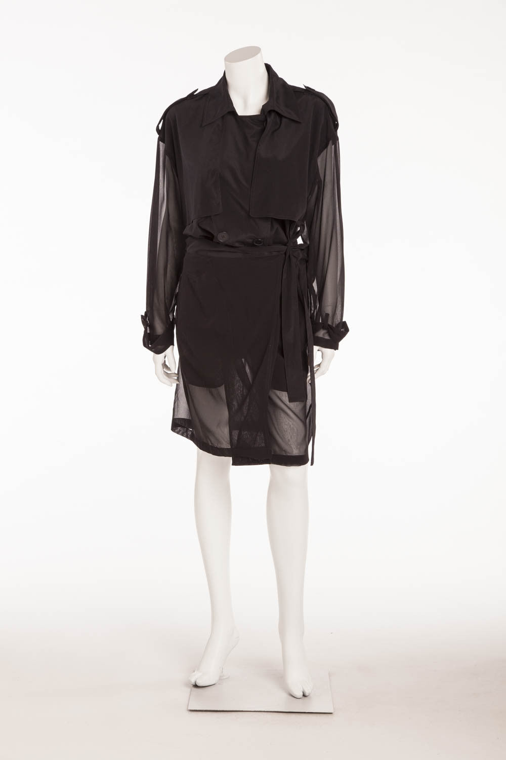 DKNY - Black Coat Button Up Sheer Sleeves - S