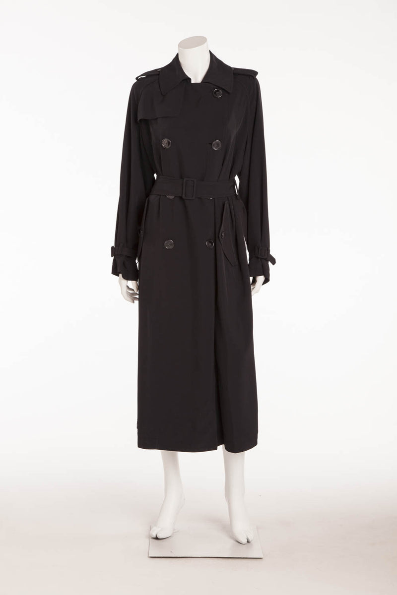 DKNY - Long Black Button Up Sheer Black Panel Coat - S