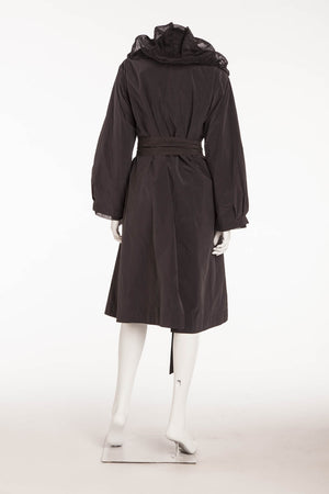 Donna Karan - 2PC Black Trenchcoat with Black Tulle Lightweight Trench coat (Can be Worn Separately) - 8