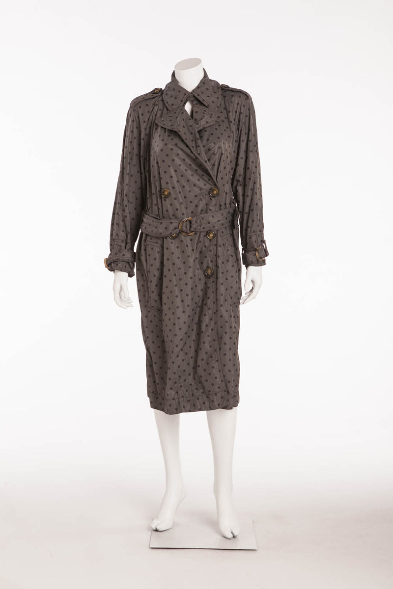 Sonia Rykiel - Gray & Black Polka Dot Trench Coat - S
