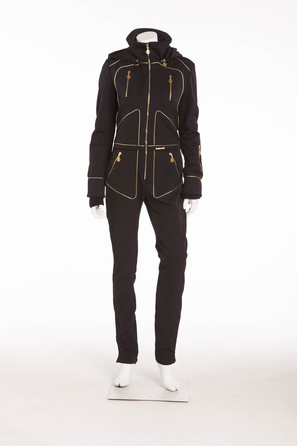 Roberto Cavalli - BN Black Ski Jumpsuit with Gold Embellishments - IT 42