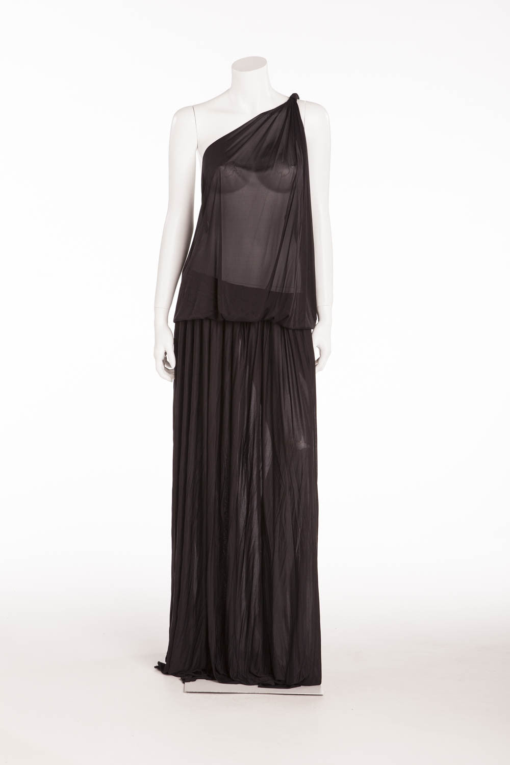 Emilio Pucci - BN Long Black Sheer One Shoulder Dress - IT 40