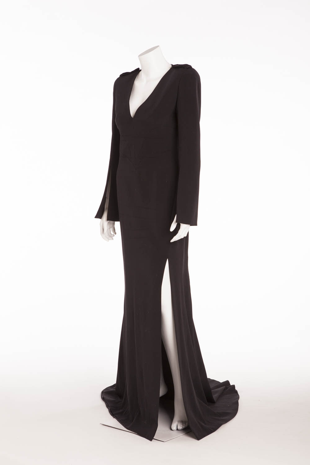 1801172548 Alexander McQueen - Long Sleeve Long Black Gown with High Slit - IT ...