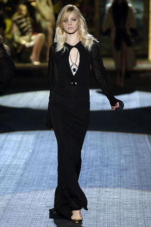Roberto Cavalli - As Seen on the 2006 Runway Collection - Black Long Dress with Sheer Cold Shoulder Sleeves - IT 40