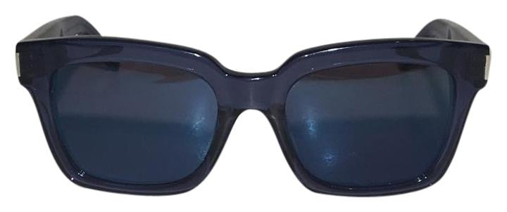 Saint Laurent - Bold Transparent Blue Framed Sunglasses with Purple Lenses