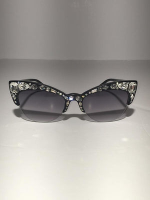 Sonia Rykiel - Jeweled Front Cat Eye Black Sunglasses - One Size