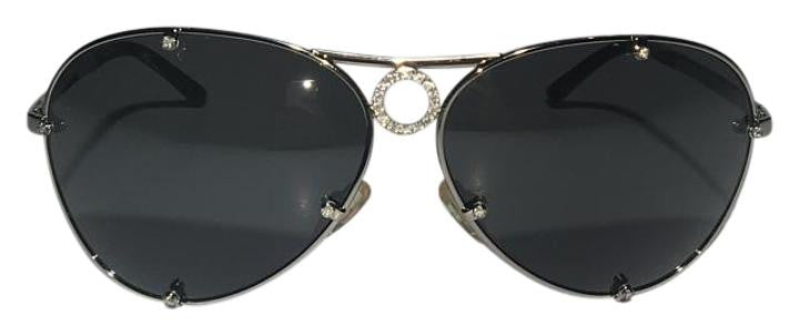 Valentino - Aviator Style Limited Edition Sunglasses with Rhinestone Circle