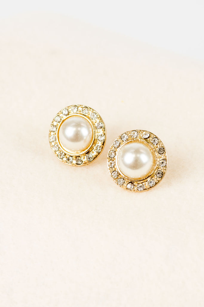 Halo Pearl Stud Earrings