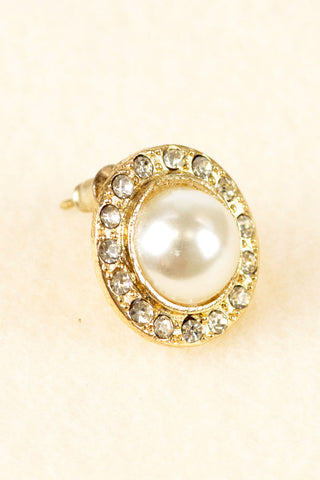 Crystal Framed Pearl Stud Earrings