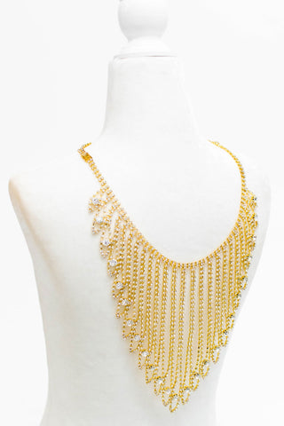 Cascading Rhinestone Back Necklace