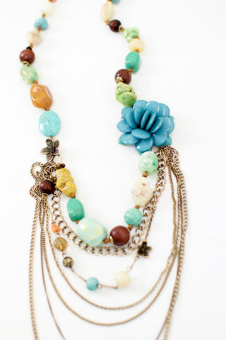 Long Beaded Layered Necklace with Flower