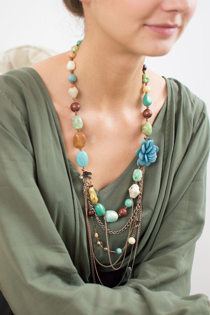Teal and Brown Beaded Layered Necklace