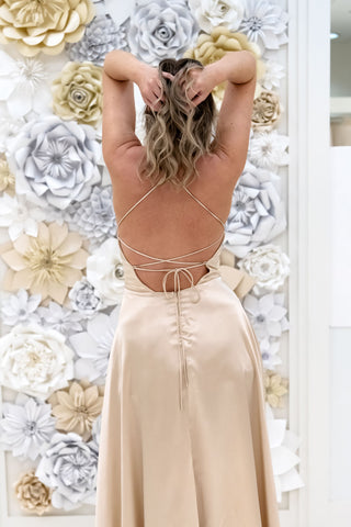 Casidee Satin Evening Gown in Champagne