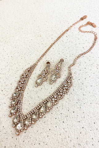 Rose-Gold-Clear-Crystals-Bridal-Necklace-Set