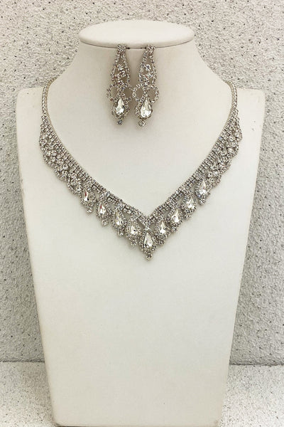 Teardrop-Rhinestone-Formal-Necklace-Set-Clear-Silver