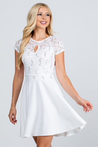 Ana Fit and Flare Dress in White