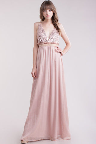 Dusty Pink Maxi Bridesmaid Dress