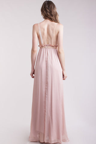 Dusty pink crinkle chiffon evening gown