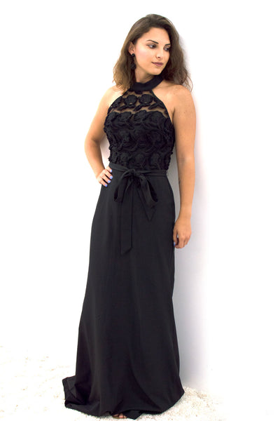 Black Rose Embroidered Halter Dress